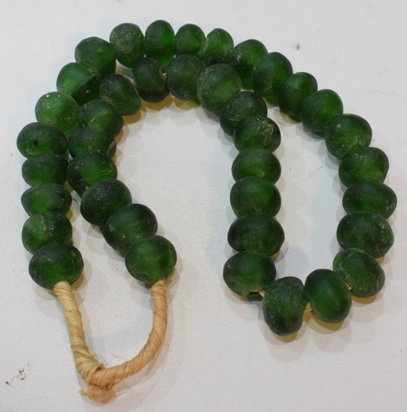 Beads African Recycled Green Glass Round Beads 22mm
