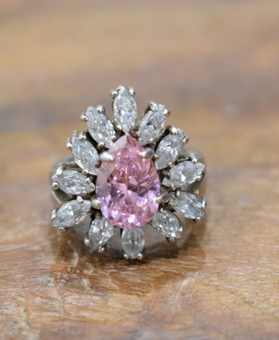 Ring Sterling Silver Pink Crystal Cubic Zirconia Ring