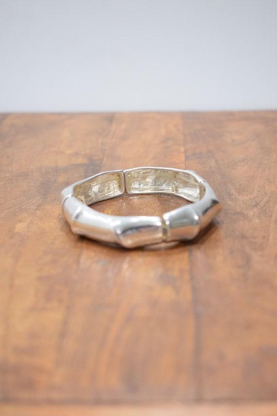 Bracelet Plated Silver Stretch Contemporay Sectional Bracelet