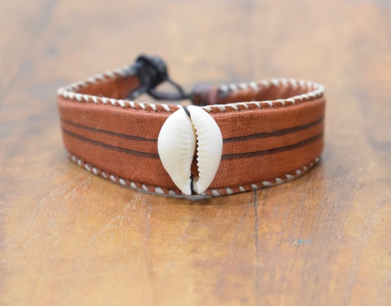 Bracelet African Rust Dyed Leather Cowrie Shell Bracelet Mali