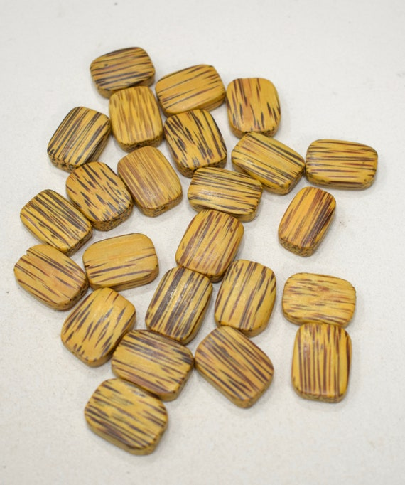 Beads Philippines Yellow Palmwood Squares 20-22mm