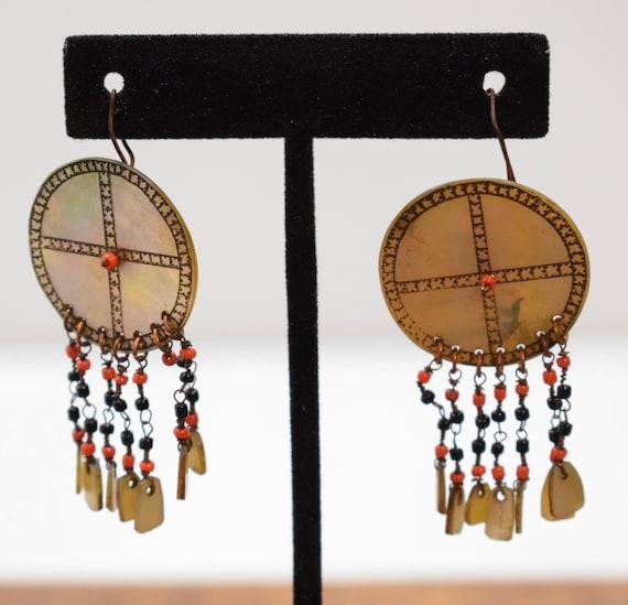 """Philippines Earrings Ilongot Mother of Pearl Shell Earrings 2"""""""