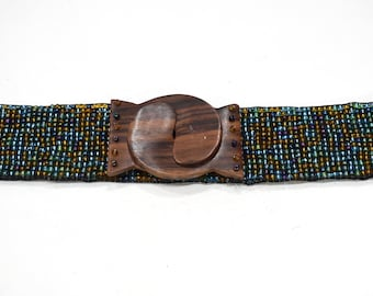 Belts Indonesian Beaded Stretch Iridescent Colored Pebble Belts