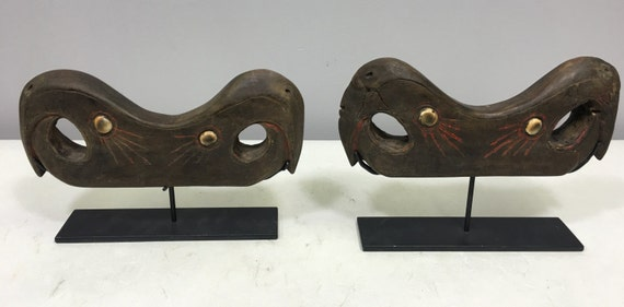 Papua New Guinea Pair Drum Slit Gong Stands Abelem Wood Shells Rare Drum Slit Gong Stands