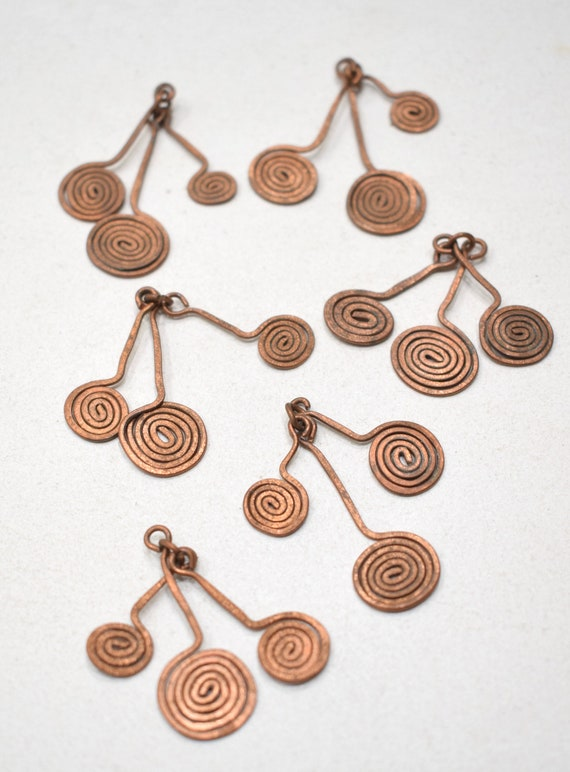 Beads Old Masai/Turkana Copper 3 Pendants 38mm
