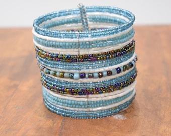 Bracelet Beaded Turquoise Shell Wide Wire Cuff Bracelet