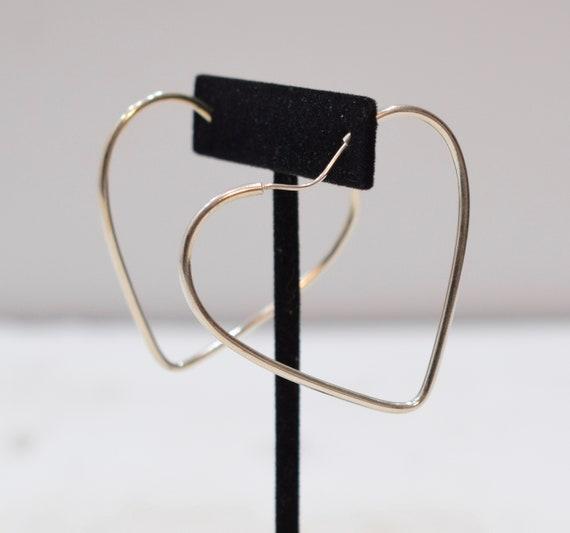 Earrings Sterling Silver Heart Hoop Earrings 34mm