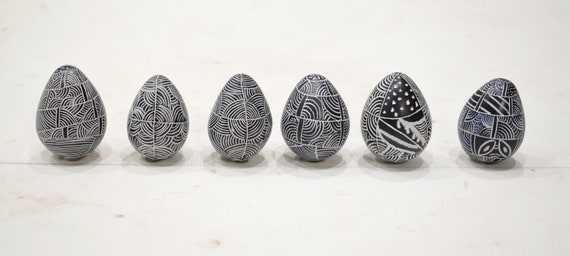 African Egg Soapstone Kenya Carved Geometric Pattern