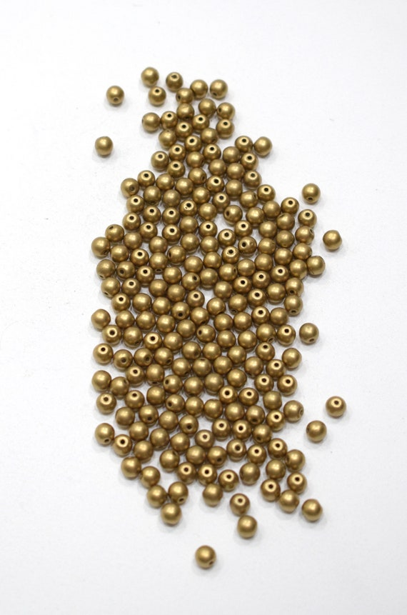 Beads Matte Gold Round Beads 5mm