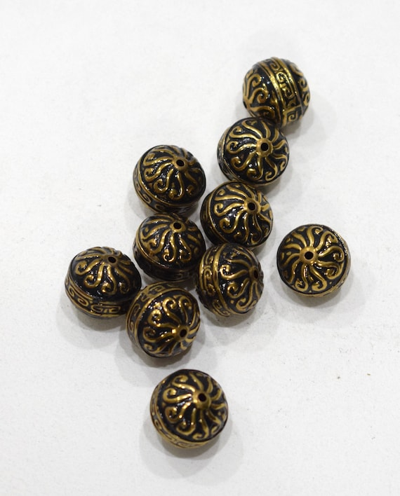 Beads Gold Ornate Round Beads 15mm