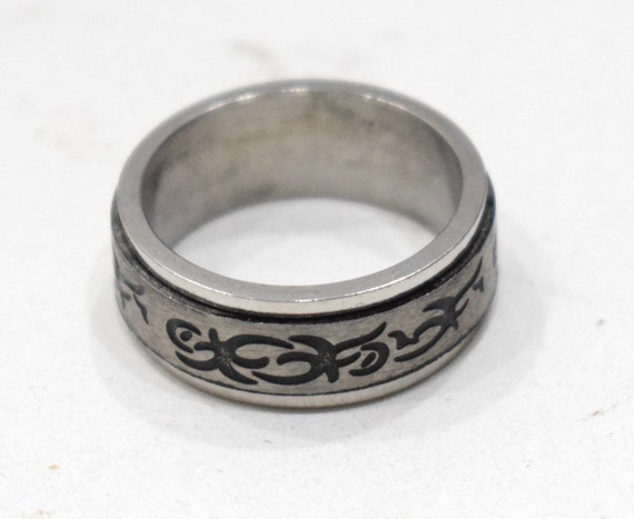 Ring Stainless Steel Etched Spinner Band Ring