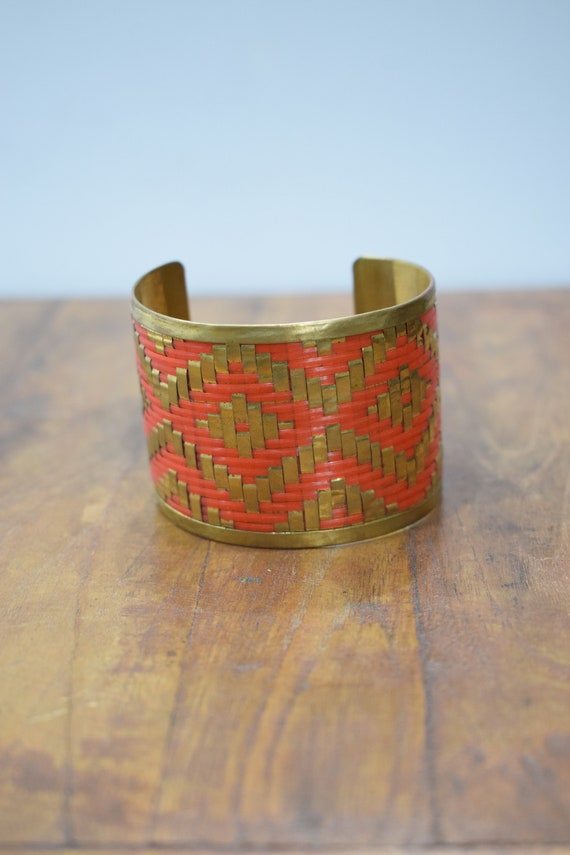 Bracelet Brass Orange Woven Brass Large Cuff
