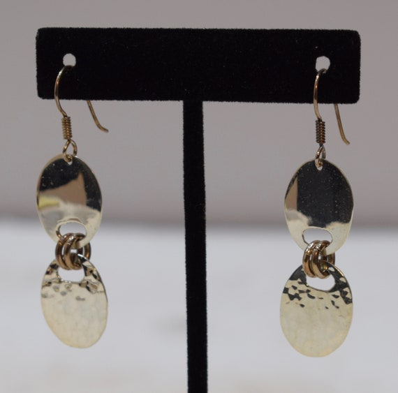 Earrings Sterling Silver Oval Textured Brass Ring Dangle Earrings 55mm
