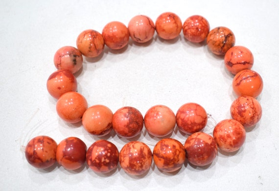 Beads Chinese Pink Coral Glass Beads 18mm