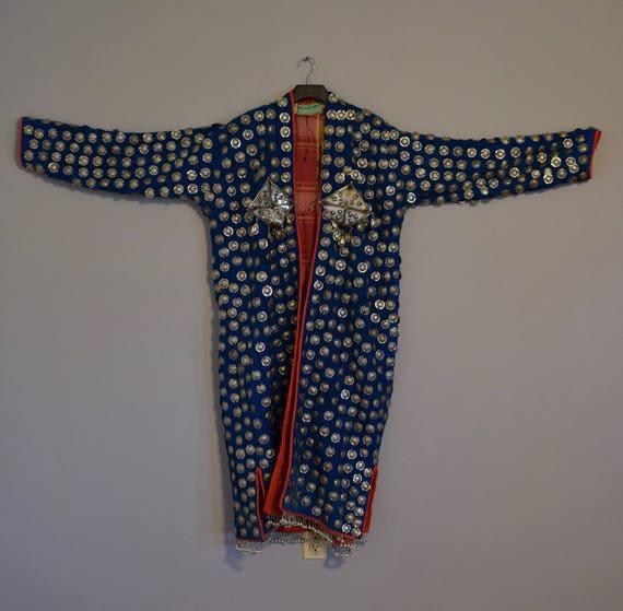 Coat Wedding Middle Eastern Teal Blue Silver Pendant Coin Coat Handmade Carnelian Pendants Tribal Wedding Coat