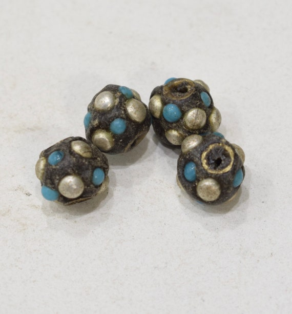 Beads Tibetan/Nepal Silver Turquoise Beads 14mm