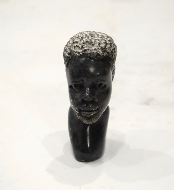 African Soapstone Male Bust Carved Sculpture Kenya