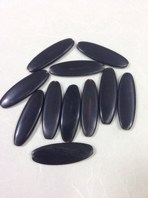 Beads Indonesian Black Horn Oval Tube Beads 35x11mm Handmade Handcrafted Jewelry Necklaces Earrings Pendants Unique #085
