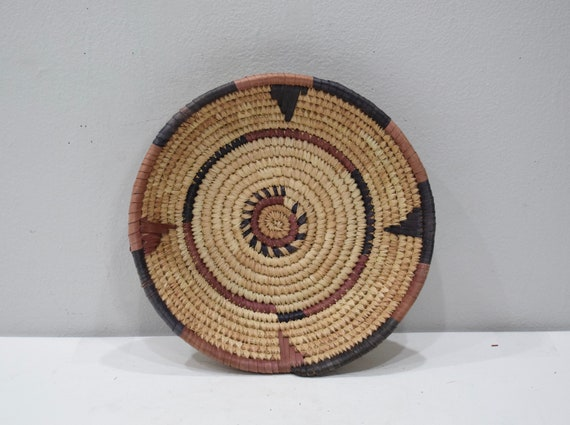 African Basket Hansa Nigeria Woven Handmade Coiled Bowl Plate Basket