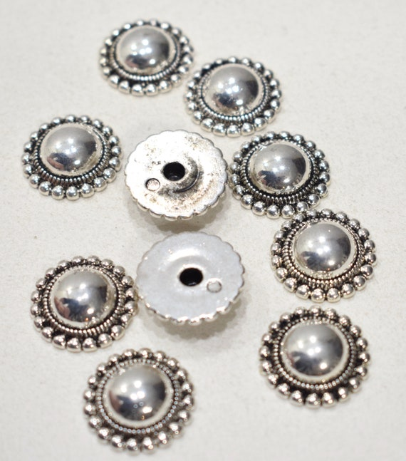 Beads Silver Scalloped Clip or Post Earrings 19mm