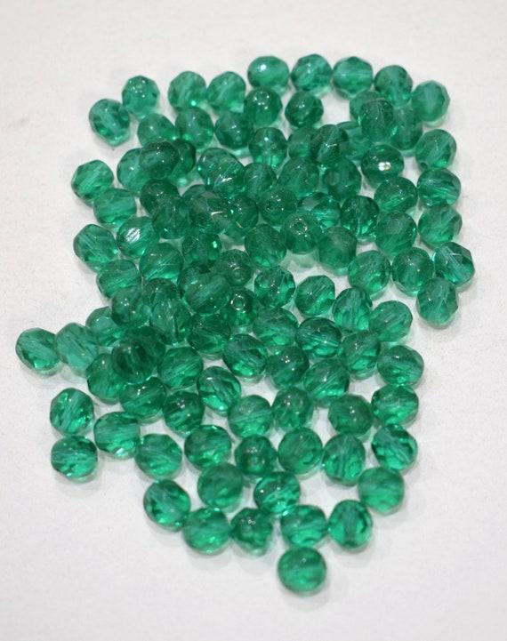 Beads Czechoslovakian Emerald Crystal Beads 8mm