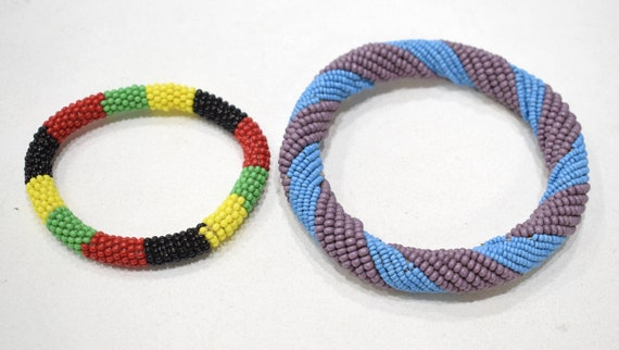 African 2 Masai Beaded Stripped Bangle Bracelets Kenya 3.5 - 4.75""