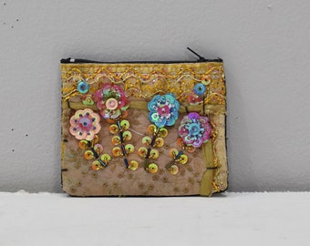 Coin Purse Tan Assorted Sequined Flower Purse