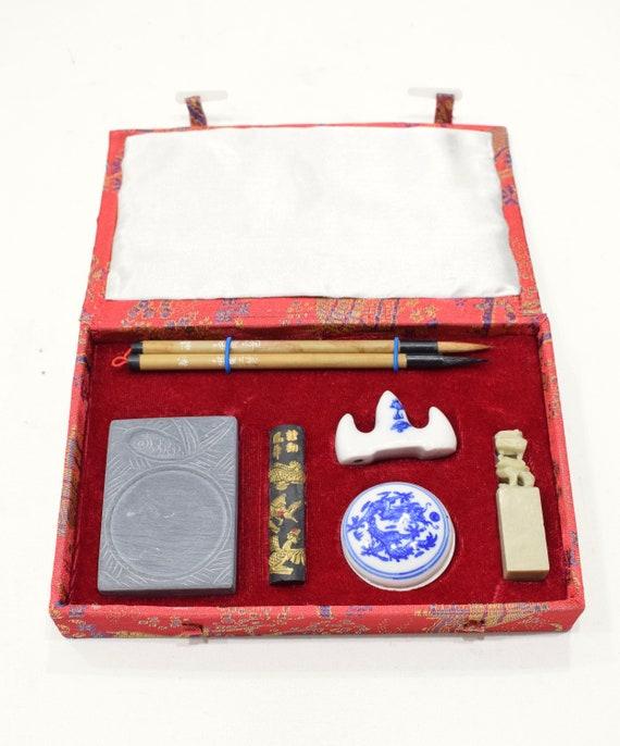 Chinese Calligraphy Set Brushes Ink  Stone Calligraphy Set