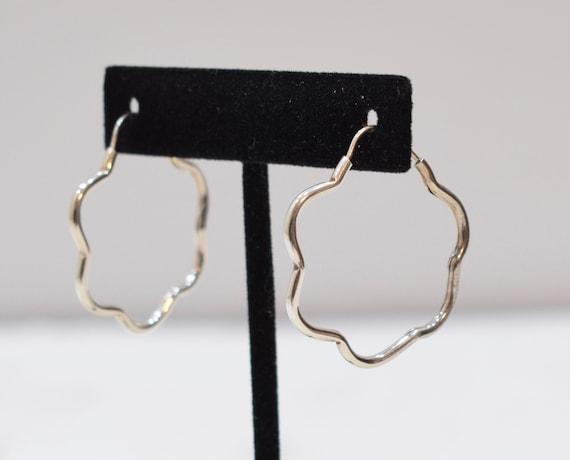 Earrings Sterling Silver Scalloped Hoop Earrings 36mm