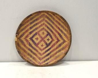 Basket African Winnowing  Woven Reed Tray Basket Kenya