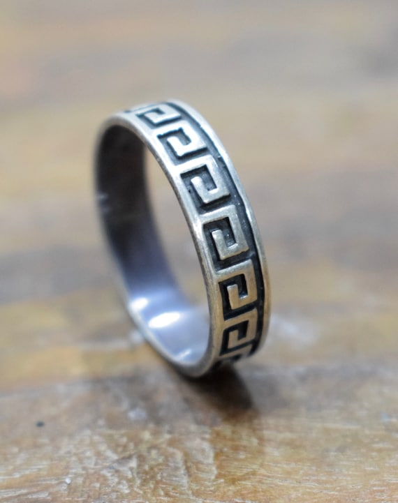 Ring Sterling Silver Thin Etched Band Ring