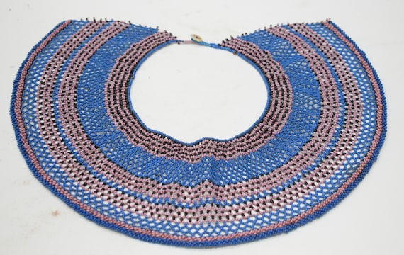 African Collar Fengu Beaded Pink Blue Collar Necklace Ceremonies Purity Collar