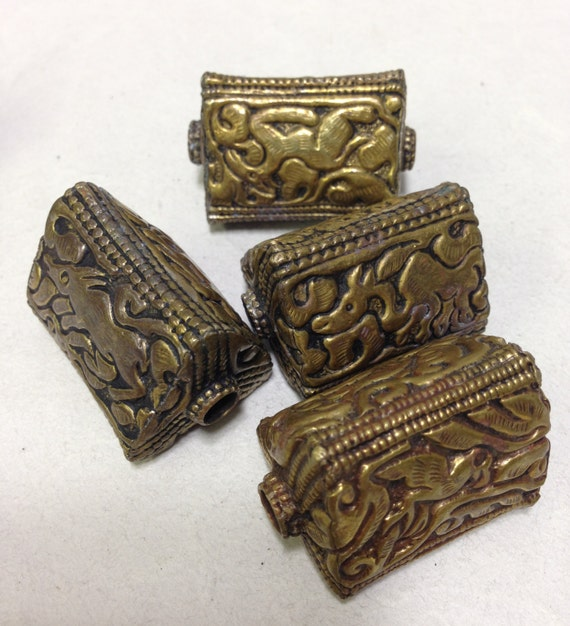 Bead Tibetan Old Ornate Brass 3-Sided Elephant Story Bead 42mm