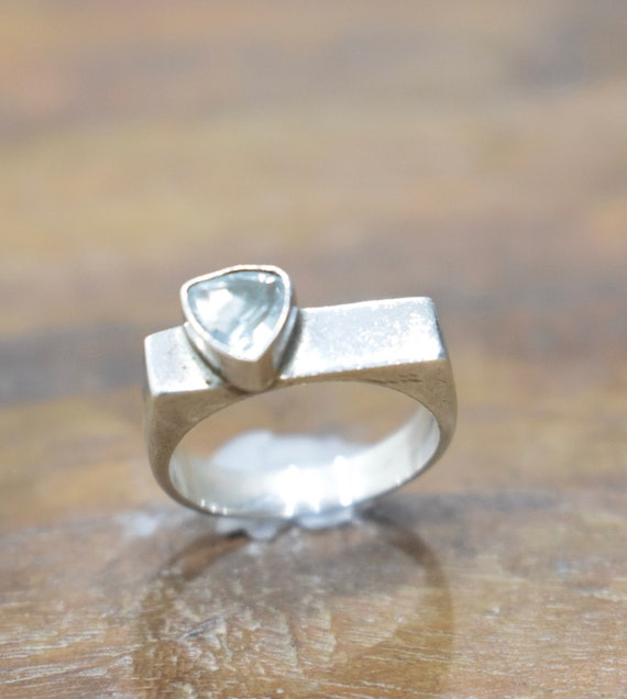 Ring Sterling Silver Square Blue Crystal Heart Ring
