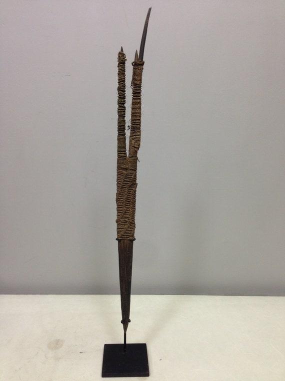 Papua New Guinea Black Palm Fiber May River Headdress Hair Stick Prong Ceremonial Ornament