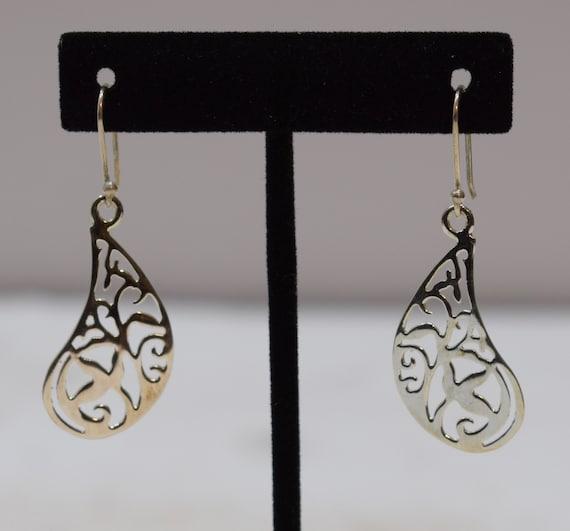 Earrings Sterling Silver Cut Out Abstract Dangle Earrings 48mm
