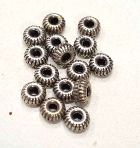Beads India Old Silver Round Fluted Beads 12mm