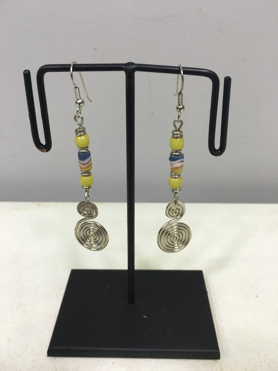 Earrings African Aluminum Coiled Small Yellow White Sandcast Beads Masai Beaded Earrings Handmade Aluminum Women Earrings Tribal E28