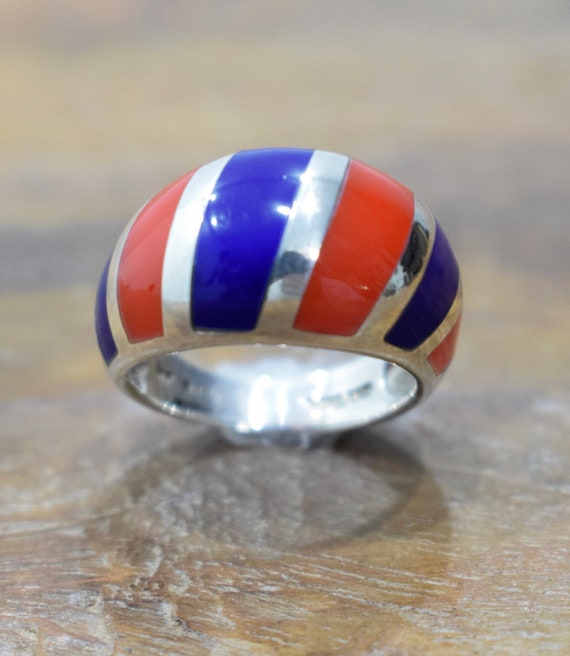 Ring Sterling Silver Blue Red Stripped Ring