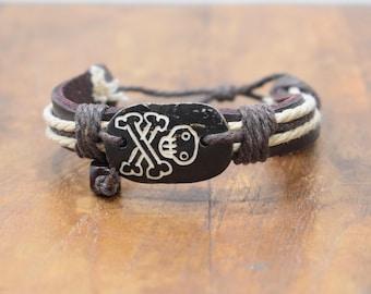 Bracelet Brown Leather Beige Hemp Batik Bone Skull Tie Bracelet