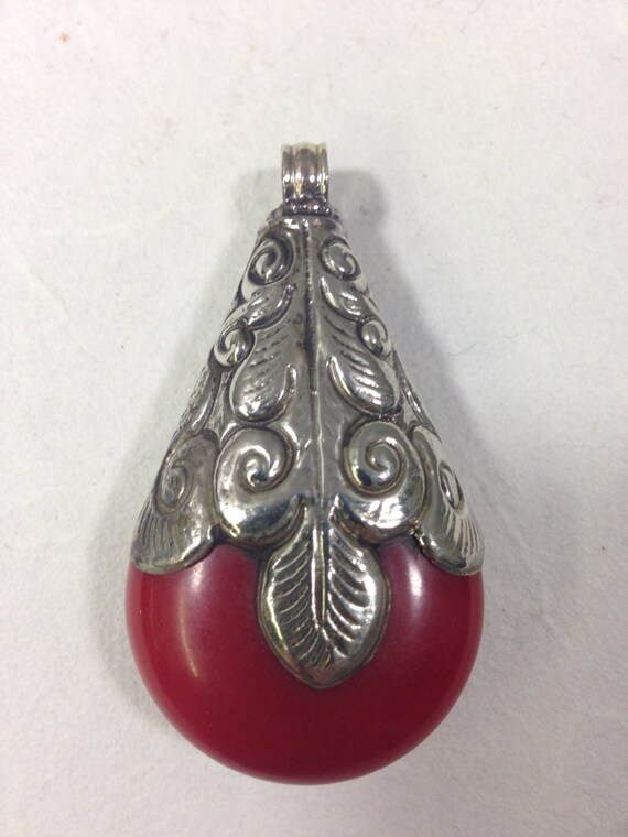 Pendant Tibetan Coral Embellished Silver Handcrafted Handmade Pendant Necklace Jewelry Unique Statement
