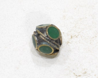Beads Middle Eastern Green Stone Brass Oval Beads 15mm