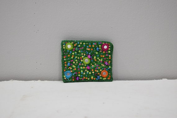 Coin Purse Beaded Dark Green Satin Sequined Flower Purse