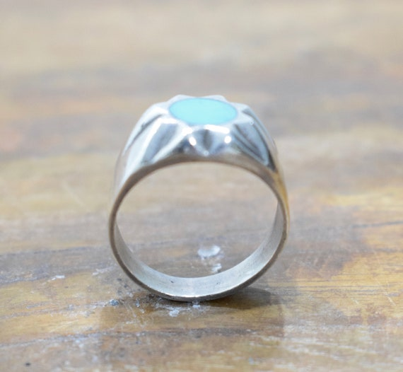 Ring Sterling Silver Round Turquoise Ring
