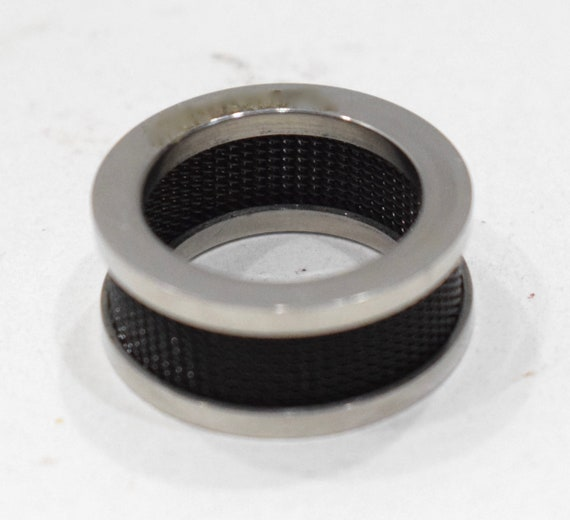 Ring Stainless Steel Black Mesh Band Ring