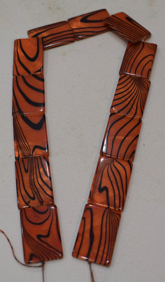 Beads Capiz Dyed Orange Zebra Shell Rectangular Beads Necklaces Shell Beads 28mm