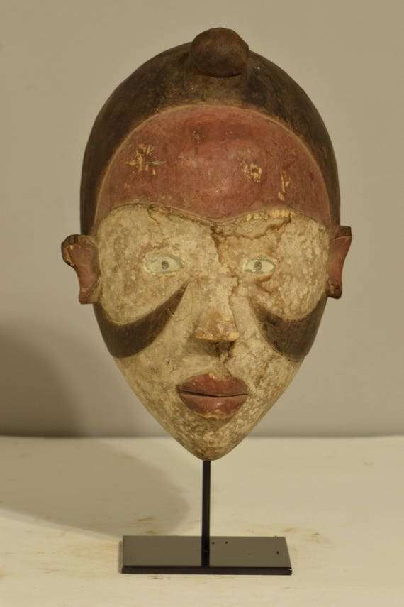 Mask African Yombe Male Power Glass Eyes Congo Handmade Funeral Initiation Mask