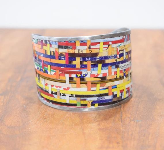 Bracelet Recycled Woven Tin Strip Wide Cuff Bracelet