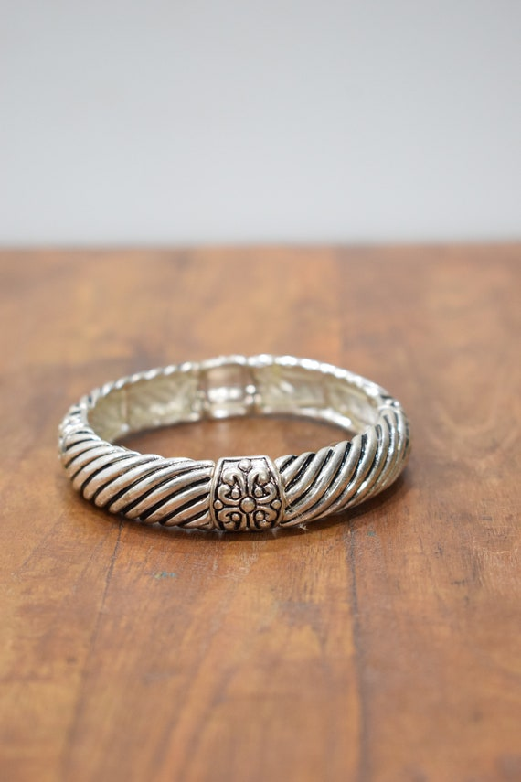 Bracelet Plated Silver Grooved Stretch Bangle Bracelet