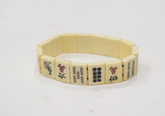 Bracelet Chinese Bone Mahjong Tile Stretch Bracelets